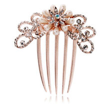 Bridal Wedding Hair Accessories White Cream Pearls Diamante Flower Comb HA111