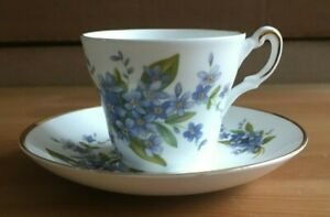 REGENCY BONE CHINA ENGLAND - BLUE FLORAL DESIGN MINI CUP & SAUCER