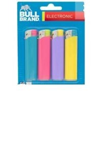4 PACK OF BULL BRAND ELECTRONIC LIGHTERS CHILD SAFE MIXED COLOUR GAS REFILLABLE