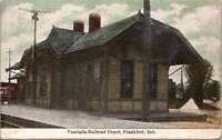 Postcard Vandalia Railroad Train Station Depot in Frankfort, Indiana~134687