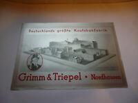 Grimm & Triepel Deutschlands größte Kautabakfabrik Nordhausen Orig. altes Plakat