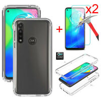 For Motorola Moto G Power 2020 Clear Case Cover Tempered Glass Screen Protector