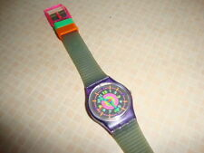 Vintage Womens Swatch Watch small face Neon pink green orange