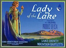 LADY OF THE LAKE Vintage Lake County Pear Crate Label n, ***AN ORIGINAL LABEL***