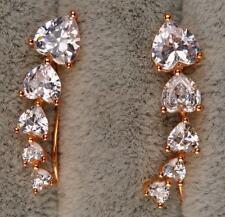 18K Yellow Gold  Filled  6mm  Heart  Topaz  Curved  U-Design  CLIMBER  Earrings