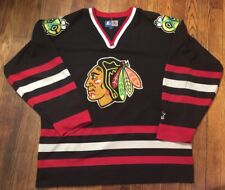 Vintage Chicago BlackHawks Starter Men's L Black NHL Sewn Hockey Jersey Sweater