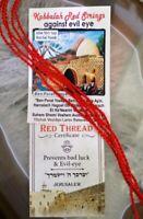 """5 Red string Kabbalah bracelet Rachel Tomb """"evil eye"""" prayer Ben Porat Yosef"""
