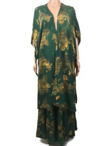 Tienda Ho 2 Pc Set Kimono Jacket Drawstring Full Maxi Skirt Green Batik OS XXL+