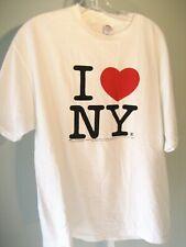 "Women's ""I Love NY"" T shirt 100% Cotton White Sz L EC"