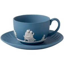 Wedgwood Jasper Classic White on Pale Blue Teacup & Saucer NEW