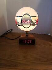 (Vtg) 1980s Coors Beer back Bar Clock Lamp light up Globe sign mountains