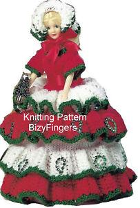 "Christmas Doll Toilet Roll Cover Holder KNITTING PATTERN DK Fits 11.5"" doll xmas"