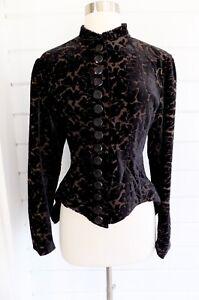 Vintage J. PETERMAN Black Burn Out Velvet Fitted Button Up Riding Jacket-12