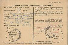 Stamp 1974 postal department Singapore card from hardware store Kuching Sarawak