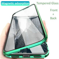 For iPhone XR Xs Max 7 8 Plus New 360° Magnetic Adsorption Full Glass Case Cover