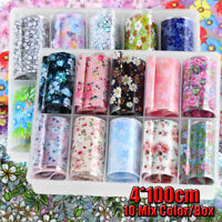 10Pcs Mix Style Holographic Starry Retro Flower Nail Art Transfer Foil Stickers