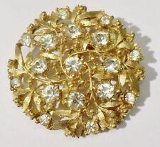 broche Top bijou vintage couleur or sertie de cristal diamant swarovski * 3715
