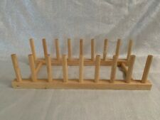 Wooden Plate Rack Wood Stand Display Holder Lids Holds 8 Plates