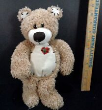 """First & Main Tender Teddy Bear Plush Embroidered Heart Tan 12"""" Suede Paws"""
