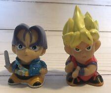 RARE Vintage DragonBall Z Goku+Trunks PVC Chibi Big Head Pencil Sharpener Figure