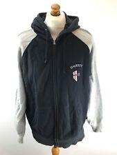 HACKETT Mens Hoodie Jacket L Large Grey & Blue Cotton