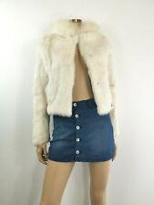 Coconuda White Rabbit Fur Hoodie Jacket UK 10