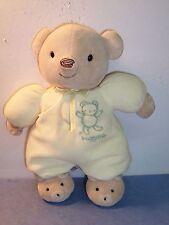 Carters Classics - Yellow Tan Huggable Teddy Bear - Plush Rattle Toy EUC