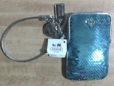 Coach 60681 Universal Poppy Sequin Case Wristlet SV/Chambray  Nwt