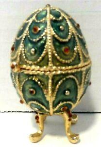 """Vintage """"Monet"""" Porcelain Egg trinket Box on legs Green Gemmed """"Monet"""""""