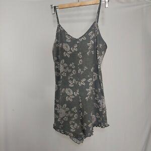 Xhilaration Intimate Sleepwear Romper Medium Gray Floral Rose Ruffle Strappy