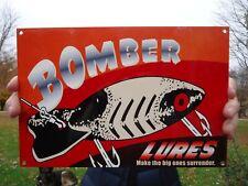 VINTAGE 1960'S BOMBER LURES BAKED ENAMEL ADVERTISING SIGN, WINCHESTER,FISHING