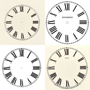 New Replacement Roman Clock Dials Faces Strong Card Paper - Sizes 50mm - 295mm