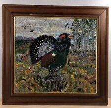 Handmade Crewel Folk Art Capercaillie Grouse Framed