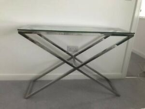 John Lewis Polished Chrome Tempered Glass Hallway Console Table