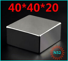 Block Magnet 40 x 40 x 20 mm SUPER STRONG High Quality Rare Earth Neodymium N52