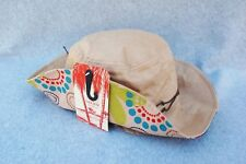 "Peter Grimm BoHo Hippy Floppy Hat Mod Flower Beige 100% Cotton 13"" Tag New Small"