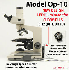LED retrofit Kit with dimmer control for older OLYMPUS BH2-bhtu microscopes.