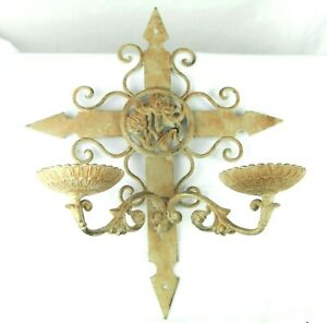 Vtg Shabby Wall Sconce Candle Holder Antiqued Ivory Swing Arm Rustic Cross 18x13