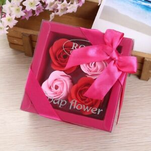 Valentines Day Gift for Boyfriend Rose Flower Soap 4pcs Flower Wedding Gifts Gue