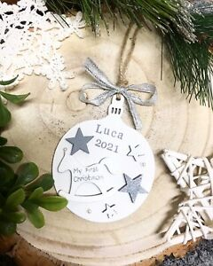 """1 personalised wooden bauble ,,baby first Christmas """" 2021"""