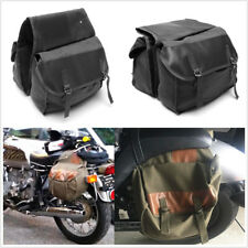 Old School Style Motorcycle Saddle Bag Travel Tail Bag Canvas + Leather Durable