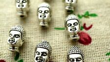 Buddha head 5 spacer beads silver charms jewellery supplies C1332