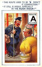 """Bamforth Comic postcard Fat Lady train conductor This Route Used to be """"L"""""""