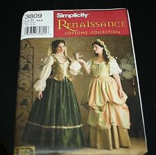 New Renaissance Fair Costume Sewing Pattern Womens size 4 6 8  Dresses Skirts -C