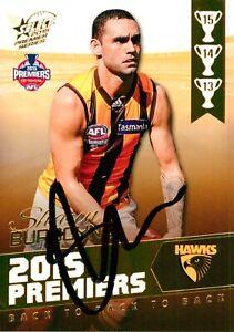 ✺Signed✺ 2015 HAWTHORN HAWKS AFL Premiers Card SHAUN BURGOYNE