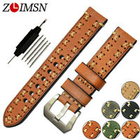 Thick Genuine Leather Watch Band Strap Bracelet Stainless Steel Buckle 20mm~26mm