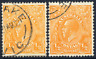 AUSTRALIA 1926-30 KGV HEAD ½D TWO EXAMPLES WITH DIFFERENT VARIETIES VF CDS USED