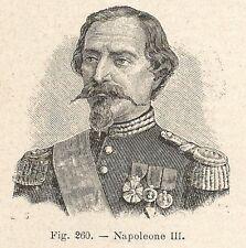 B1461 Napoleone III - Incisione antica del 1928 - Engraving