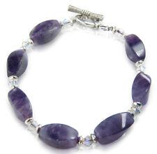 Amethyst Crystal Twist Bracelet, Purple Toggle clasp