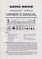 SHENANDOAH STEREO 60 OWNER'S MANUAL ACOUSTIC GUITAR AMP W/ENGINEERING SPECS